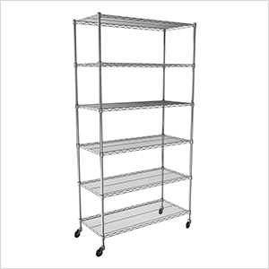 "NSF 6-Tier Wire Shelving Rack with Wheels - 48""W x 72""H x 18""D"