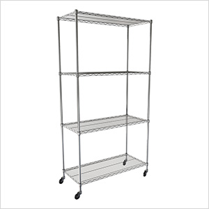 "NSF 4-Tier Wire Shelving Rack with Wheels - 48""W x 72""H x 18""D"