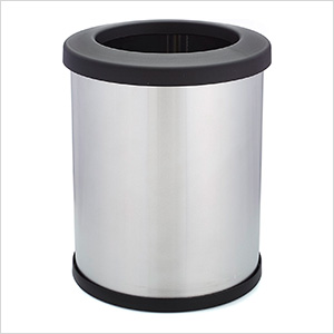 Shop-Can 10 Gallon Stainless Steel Trash Can with Open Lid