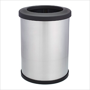 Shop-Can 12 Gallon Stainless Steel Trash Can with Open Lid