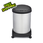 Shop-Vac Shop-Can 12 Gallon Stainless Steel Trash Can with Spring Lid and Casters