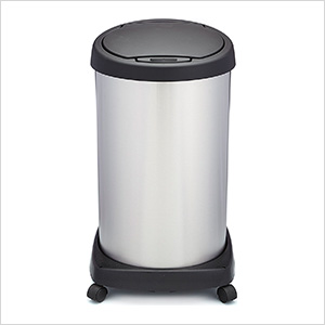 Shop-Can 14 Gallon Stainless Steel Trash Can with Spring Lid and Casters