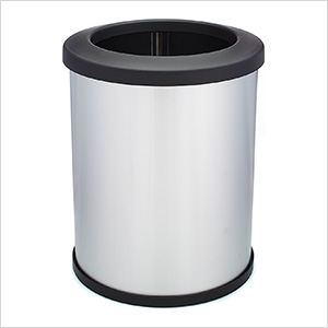 Shop-Can 16 Gallon Stainless Steel Trash Can with Open Lid