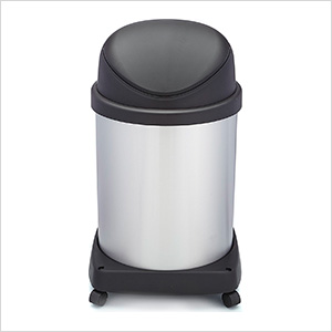 Shop-Can 16 Gallon Stainless Steel Trash Can with Spring Lid and Casters