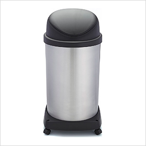 Shop-Can 20 Gallon Stainless Steel Trash Can with Spring Lid and Casters