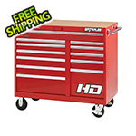 Waterloo 46-Inch Professional HD Series Red 12-Drawer Cabinet