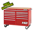 Waterloo 56-Inch Professional HD Series Red 12-Drawer Cabinet