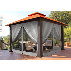 Gazebo Mosquito Netting and Privacy Panels (Gazebo Not Included)