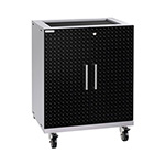 NewAge Garage Cabinets PERFORMANCE PLUS 2.0 Black Diamond Plate 2-Door Base Cabinet