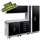 NewAge Garage Cabinets PERFORMANCE PLUS 2.0 Black 6-Piece Set with LED Lights