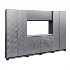 PERFORMANCE 2.0 Silver Diamond Plate 7-Piece Cabinet Set with LED Lights