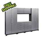NewAge Garage Cabinets PERFORMANCE 2.0 Silver Diamond Plate 7-Piece Cabinet Set with LED Lights