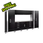 NewAge Garage Cabinets PERFORMANCE 2.0 Black 9-Piece Cabinet Set with LED Lights