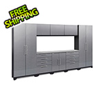 NewAge Garage Cabinets PERFORMANCE 2.0 Silver Diamond Plate 9-Piece Cabinet Set with LED Lights