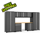 NewAge Garage Cabinets PRO Series 3.0 Grey 8-Piece Set with Bamboo Top