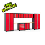 NewAge Garage Cabinets PRO Series 3.0 Red 10-Piece Set with Bamboo Top