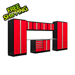 NewAge Garage Cabinets PRO Series 3.0 Red 10-Piece Set with Stainless Steel Top
