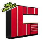 NewAge Garage Cabinets PRO Series 3.0 Red 6-Piece Set with Bamboo Top