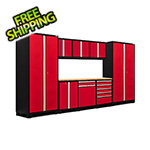 NewAge Garage Cabinets PRO Series 3.0 Red 9-Piece Set with Bamboo Top and LED Lights