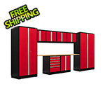 NewAge Garage Cabinets PRO Series 3.0 Red 10-Piece Set with Bamboo Top and LED Lights
