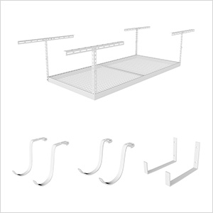 "4'x6' Overhead Storage 12""-21"" Drop Combo (Includes 2 Racks and 18 Hooks)"