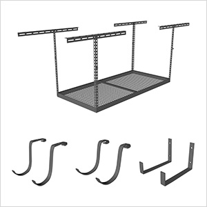 "4'x6' Overhead Storage 24""-45"" Drop Combo (Includes 2 Racks and 18 Hooks)"