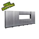 NewAge Garage Cabinets PERFORMANCE 2.0 Silver Diamond Plate 10-Piece Cabinet Set with LED Lights