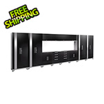 NewAge Garage Cabinets PERFORMANCE 2.0 Black 14-Piece Cabinet Set with LED Lights