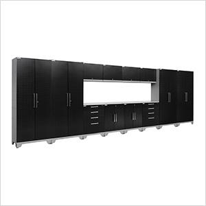 PERFORMANCE 2.0 Black Diamond Plate 14-Piece Cabinet Set with LED Lights