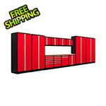 NewAge Garage Cabinets PRO Series 3.0 Red 14-Piece Set with Bamboo Tops and LED Lights