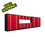 NewAge Garage Cabinets PRO Series 3.0 Red 14-Piece Set with Bamboo Top and LED Lights