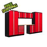 NewAge Garage Cabinets PRO Series 3.0 Red 8-Piece Set with Bamboo Top