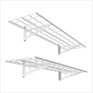 1' x 4' White Wall Mounted Shelf (2-Pack)