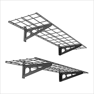 1' x 4' Black Wall Mounted Shelf (2-Pack)