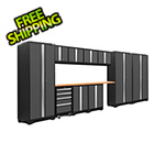 NewAge Garage Cabinets BOLD Series 3.0 Grey 12-Piece Set with Bamboo Top
