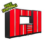 NewAge Garage Cabinets BOLD Series 3.0 Red 7-Piece Set with Stainless Steel Top and LED Lights