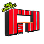 NewAge Garage Cabinets BOLD Series 3.0 Red 8-Piece Set with Bamboo Top and LED Lights