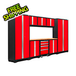 NewAge Garage Cabinets BOLD Series 3.0 Red 9-Piece Set with Bamboo Top and LED Lights