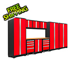 NewAge Garage Cabinets BOLD Series 3.0 Red 10-Piece Set with Bamboo Top and LED Lights