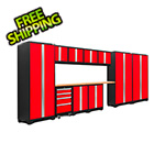 NewAge Garage Cabinets BOLD Series 3.0 Red 12-Piece Set with Bamboo Top and LED Lights