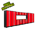 NewAge Garage Cabinets BOLD Series 3.0 Red 14-Piece Set with Bamboo Top and LED Lights