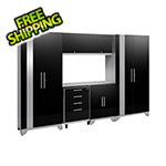 NewAge Garage Cabinets PERFORMANCE 2.0 Black 7-Piece Cabinet Set with LED Lights