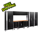NewAge Garage Cabinets PERFORMANCE 2.0 Black 10-Piece Cabinet Set with LED Lights
