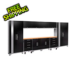 NewAge Garage Cabinets PERFORMANCE 2.0 Black 12-Piece Cabinet Set with LED Lights