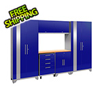 NewAge Garage Cabinets PERFORMANCE 2.0 Blue 7-Piece Cabinet Set with LED Lights