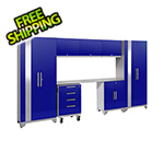 NewAge Garage Cabinets PERFORMANCE 2.0 Blue 8-Piece Cabinet Set with LED Lights