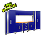 NewAge Garage Cabinets PERFORMANCE 2.0 Blue 9-Piece Cabinet Set with LED Lights