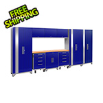 NewAge Garage Cabinets PERFORMANCE 2.0 Blue 10-Piece Cabinet Set with LED Lights
