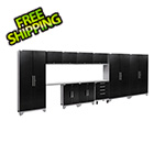 NewAge Garage Cabinets PERFORMANCE 2.0 Black Diamond Plate 12-Piece Cabinet Set with LED Lights