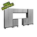NewAge Garage Cabinets PERFORMANCE 2.0 Silver Diamond Plate 8-Piece Cabinet Set